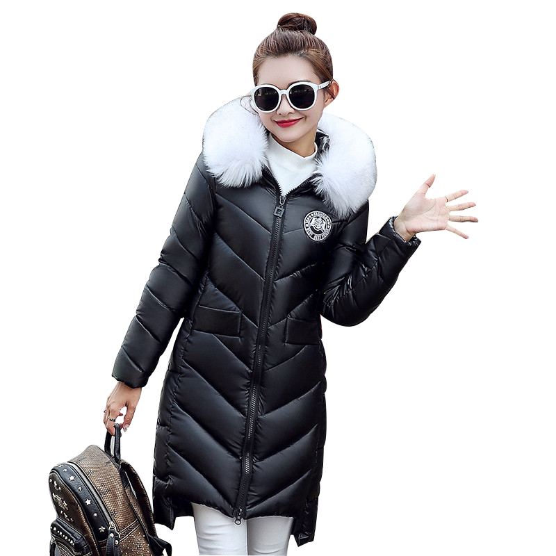 Winter Coat Pu Leather Fur Collar Hooded Warm Cotton Jacket Women Fashion Padded Parka Medium-Long Wadded Parka Mujer TT2880Îäåæäà è àêñåññóàðû<br><br>