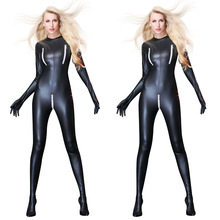 Buy Women Sexy Patent Leather Jumpsuit Bondage Zentai Catsuit Wetlook PU Latex Leotard Zipper open crotch Bodysuit Erotic Clubwear