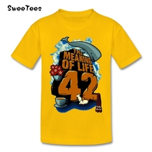 Boys Girls 42 Hitchhiker Guide To The Galaxy T Shirt Pure Cotton O Neck Tshirt Children Tees 2017 Customized T-shirt For Kids