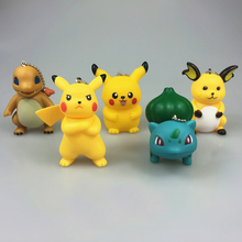 1 pcs figures Pocket Monster pikachu,Bulbasaur,Squirtle,Gastly,Chansey,Charizard,Vaporeon pvc figure keychain pendant