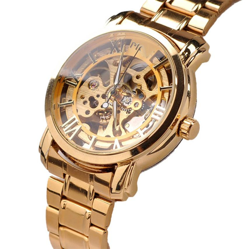 Novel design 2015 New Luxury Automatic Mechanical Skeleton Gold Mens Wrist Watch Dropshipping<br><br>Aliexpress