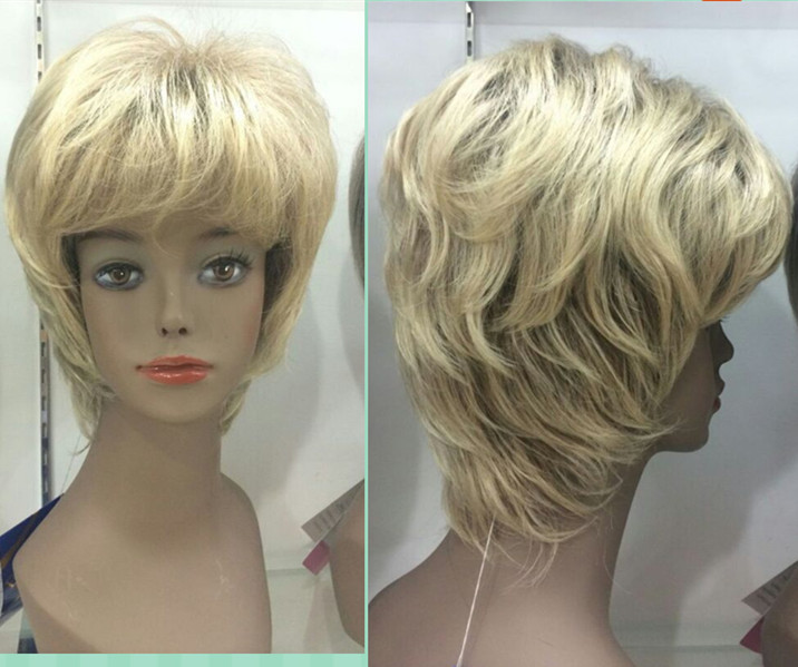 Female blonde fluffy short wig synthetic wig free shipping<br><br>Aliexpress