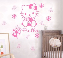 Custom Name Cartoon Hello Kitty Wall Sticker Kids Nursery Room Wall Decal Personalized Words Decal For Girls Children Room S-37(China)