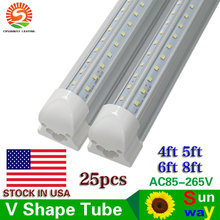 US Stock+Integrated V-Shaped Cooler Door 4ft 5ft 6ft 8ft Led Tube Light T8 Cold White Led Fluorescent Lights AC85-265V 25pcs