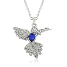 Minimal Blue Rhinestone Beautiful Bird Hummingbird Necklace