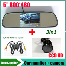 3 in 1 HD 800*480 5'' Digital car Mirror Monitor Auto Parking Assistance System + Universal ccd hd wireless Car Rear view Camera(China)