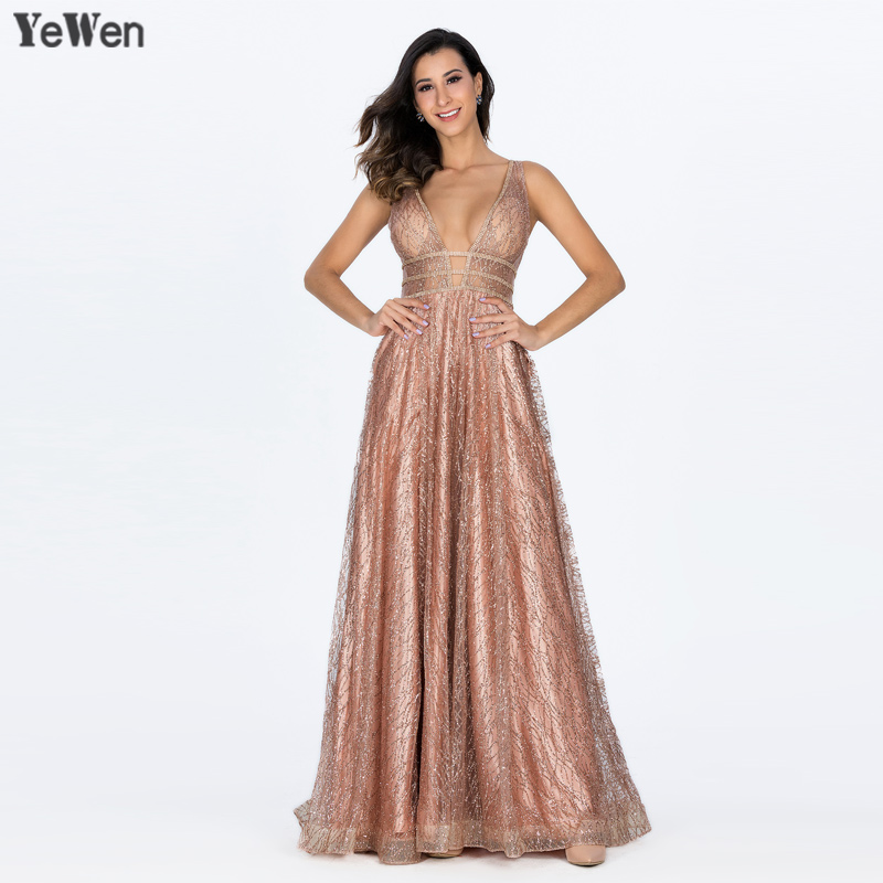 YeWen Pocket Luxury Bling Gold Deep-V Sexy Evening Dresses 2019 Backless Prom Formal Dress Women Elegant Evening Gowns Long(China)