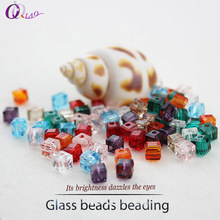 wholesale jewelry making fashion accessories mixed color 4mm 6mm about 98-100pcs crystal glass square cube beads