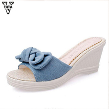 VTOTA Butterfly-knot Flip Flops Summer Shoes Slippers Women Platform Shoes Woman Wedges women shoes High Heels Pumps Shoes Q90(China)