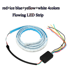 white/ice blue/red/yellow color flow type drl on Trunk box with Side Rear lights LEDs Strips Car Braking light Turn Signal Light(China)