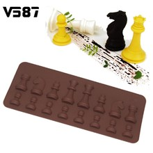 Cake Mold 15 Cavity Chess Shaped Chocolate Sugar Silicone Ice Mini Cube Tray Kitchen Bakeware Baking Pastry Tools 21.8*8.8cm(China)