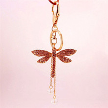 New Design Dragonfly Crystal Diamonte Keyring Charm Pendant Purse Bag Key Holder Keychain Bag Accessories
