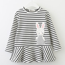 Striped Patchwork Character Girl Dresses Long Sleeve Cute Mouse Children Clothing Kids Girls Dress Denim Kids Clothes(China)