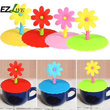 Cute Flower Cartoon Leak proof Silicone Coffee Mug Suction Lid Cap Airtight Sealed Cup Cover ZH01373