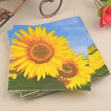 Newsale table napkins paper tissue for decoupage vintage wedding birthday party cocktail printed sunflower cafe hotel home decor
