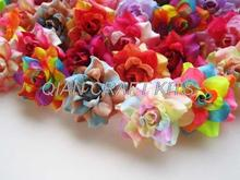 100pcs velvet high quality Mix color mini Roses Heads - Artificial Silk Flower - 1.75 inches for Wedding Work, Make Hair clips
