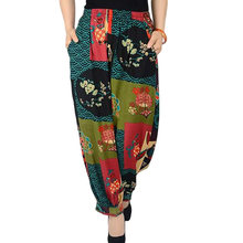 Nueva Pantalón ancho Pantalones mujer algodón Lino imprimir pierna ancha  Pantalones más tamaño elástico cintura Capris def15393be25