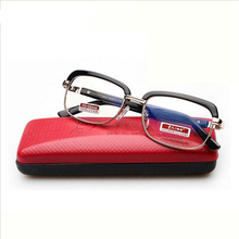 2017 Free Shipping Half Metal Frame Glasses Lens Reading Glasses Diopter Glasses Woman Men Glasses Presbyopia with Red Case(China)
