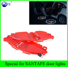 1set For Hyundai SANTAFE auto car light source LED door welcome lights laser projector logo ghost shadow lamp