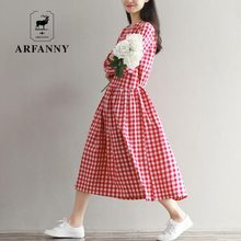 dresses Spring vintage small fresh plaid slim waist full dress preppy style long-sleeve fluid one-piece dress(China)