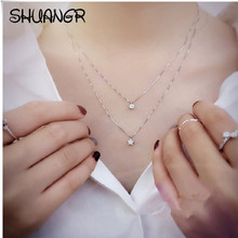 SHUANGR Silver Star Crystal Sliver Chain Zircon long Necklaces Pendant Fashion Jewelry Women Wedding Party Necklace
