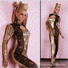 Women Sexy Faux Leather DS Club Clothing Bodysuit Adult Latex PVC Leopard Catsuit Erotic Lingerie Cosplay Costume Jumpsuit