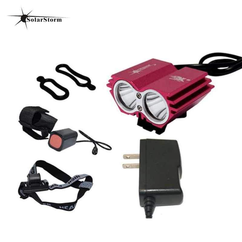 Solarstorm Bicycle Light 8000 Lumens 6400mAh Battery LED Cycling Headlamp Bike Lamp + laser Rear Light Bicycle Accessories(China)