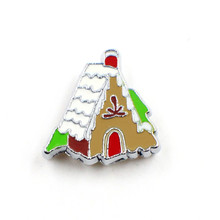 SL237-2 Gingerbread House wholesales 10pcs Slide Charms Can through 8mm band 8mm Pet Dog Cat Tag Collar Wristband