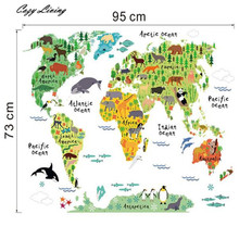 Wall Stickers Animal World Map Removable Decal Art Mural Home Decor Wall Stickers DIY Removable Wallpaper Home Decor D13