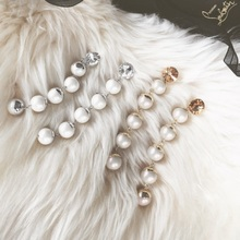 2016 New Elegant Exaggerate Shell Simulated Pearl Rhinestone Jewelry Long Chain Earrings For Women Pendientes Brinco ED032(China)