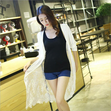 Autumn Sexy Lace Kimonos Korean Style Clothes Summer Women's Vogue Tops Chiffon Long Sleeve Loose Casual Kimono feminino