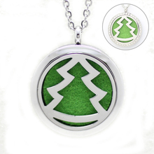 10Pcs Round Silver Christmas Tree Aromatherapy/Essential Oils Diffuser Locket Magnetic Stainless Steel Purfume Lockets Pendants