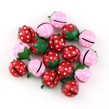 Cute Mini School Bell Strawberry Shape 21mm 2pc Copper Jingle Bells For Charm Bells Necklace Fit Festival/Party/Pet's Necklace(China)