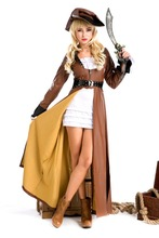 100% Real Shot High Quality Women Halloween Costume Pirate Game Uniform Knight Role Performance Cosplay PS0207