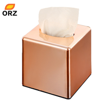 ORZ Square Roll Paper Box Home Office Car Tissue Box Holder Rose Gold Napkin Tissue Canister Cover Kleenex Ficial Paper Case(China)
