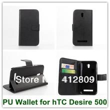 Black Color High Quality PU Wallet Credit Card Mulit Stand Smart Covers Case for hTC Desire 500 Free Shipping(China)