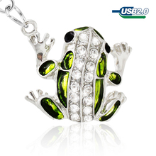 USB Flash Drive Cute Frog 32GB 64GB Diamond Pen Drive 16GB 8GB 4GB Pen drive chain Memory Sticj USB 2.0 U Disk Free Shipping(China)