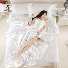 ParkShin Silk Satin Bedding Set Solid Color Bed Linen White Duvet Cover Set Soft Tencel Flat Sheet 3Pcs or 4Pcs