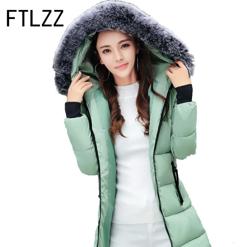 Winter Jackets 2017 Women Parka  Female Medium Long Parka Fur Hood Coat Women Cotton Jacket   Casaco Feminino Plus Size M-4xlÎäåæäà è àêñåññóàðû<br><br>