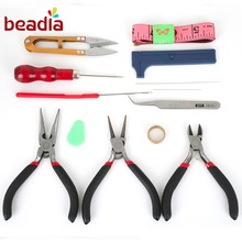 Wholesale 13pcs/set 3pcs Black Pilers Nose Needle Beading Ruler Ring Scissors Tweezer Crimper Jewelry Hand Tools Set Making