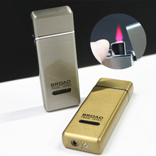 Metal Drawing Electroplate Windproof Smoking Lighter Top Qualilty Red Flame Gas Lighter Men Cigarette Lighter Gifts -BD250