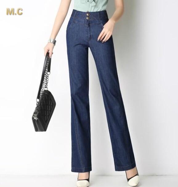Cotton blend jeans for women denim pants plus size high waist spring autumn straight full length new fashion embroidery smf0601Îäåæäà è àêñåññóàðû<br><br>