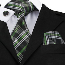 2017 Fashion White Black Green Plaid Tie Hanky Cufflinks 100% Silk Neckties Ties For Men Formal Business Wedding Party C-906(China)