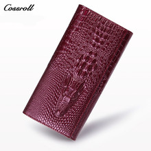 COSSROLL Alligator Genuine Leather Women Long Crocodile Wallet Purse Luxury Brand Compartment Zipper Card Holder Clutch Wallets
