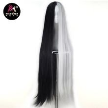 Miss U Hair Synthetic Unisex 110cm Extra Long Straight Half Black White Hair Halloween Cosplay Costume Party Wig