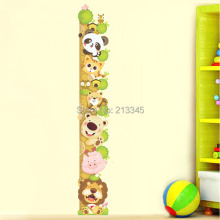 [Fundecor] measure child height wall sticker diy cartoon animals kids room bedroom home deocr adesivo de parede sala
