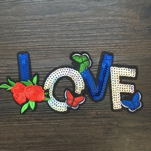1PCS Sewing on Sequined Rose Brand Applique Embroidery Patches Brand Logo Applique Patches DIY Handbag Patches LSHB482