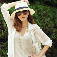 Factory Price, Chic Women's Summer Beach Trilby Straw Wide Brim Beach Cap Sun Hat(China)