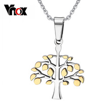 Vnox Necklaces Tree of Life Pendants for Men Women Christmas Necklace Pendant Silver & Gold-color Stainless Steel Gifts