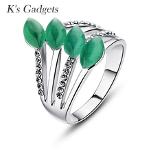 K's Gadgets Opal Silver Plated With Ring For Women Cubic Zircon Bague Argent Natural Stone Ring Jewelry Green onyx Ring